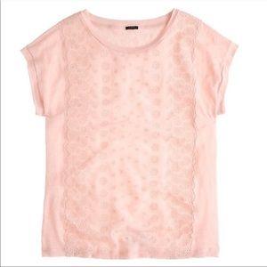 J. Crew Eyelet Front Linen Silk T-Shirt